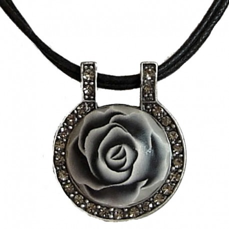 Chic Costume Jewellery Rope Necklaces, Fashion Women Accessories, Small Gift, Grey Rose Clay Circle Black Cord Necklace