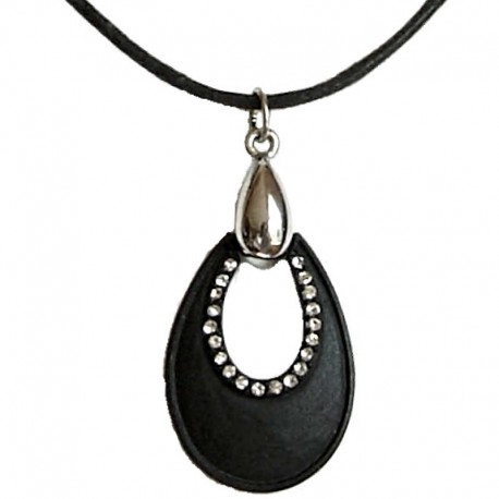 Chic Costume Jewellery Rope Nercklaces, Fashion Women Accessories, Girls Small Gift, Black Teardrop Black Cord Necklace