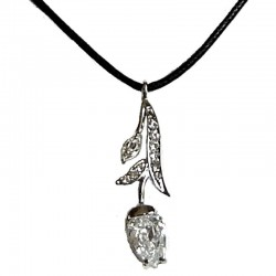 Clear Diamante Tulip Flower Cord Necklace