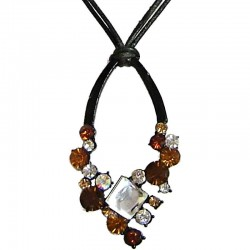 Brown Diamante Teardrop Cord Necklace