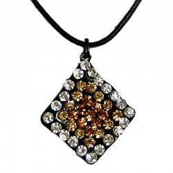 Black Rope Costume Jewellery, Fashion Women Gift Accessirues, Brown Diamante Lozenge Cord Necklace