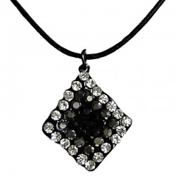 Black Diamante Lozenge Cord Necklace