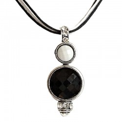 Monochrome Black White Circle Cord Necklace