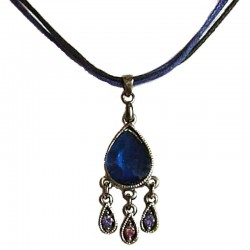 Royal Blue Teardrop Navy Cord Necklace