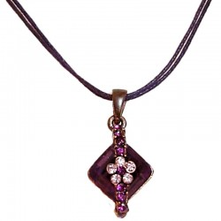 Purple Flower Lozenge Diamante Cord Necklace
