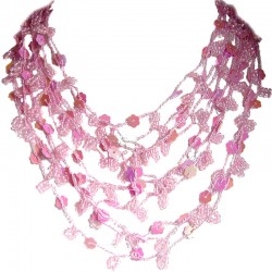 Cascade Multi-layered Costume Jewellery, Fashion Women Unique Accessories Small Gift, Pink Bead Crochet Multi Strand Necklace