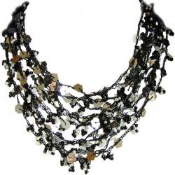 Multi-layered Costume Jewellery, Fashion Women Unique Accessories Small Gift, Black White Bead Crochet Multi Strand Necklace