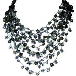 Cascade Multi-layered Costume Jewellery, Fashion Women Unique Accessories Small Gift, Grey Bead Crochet Multi Strand Necklace