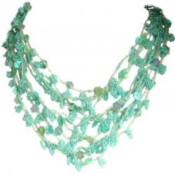 Cascade Multi-layered Costume Jewellery, Fashion Women Unique Accessories Small Gift, Blue Bead Crochet Multi Strand Necklace