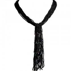 Cascade Multi-layered Costume Jewellery, Fashion Women Unique Accessories Small Gift, Black Bead Multi-strand Long Tassel Drop N