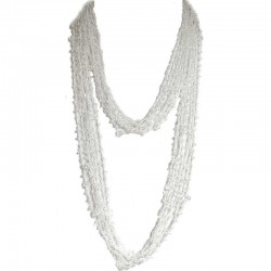 White Bead Multi-strand Crochet Extra Long Necklace