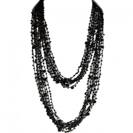 Trendy Costume Jewellery, Fashion Women Unique Accessories Small Gift, Jet Black Bead Multi-strand Crochet Extra Long Necklace