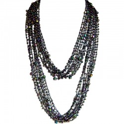 Mix Colour Bead Multi-strand Crochet Extra Long Necklace