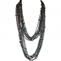 Black Bead Multi-strand Crochet Extra Long Necklace