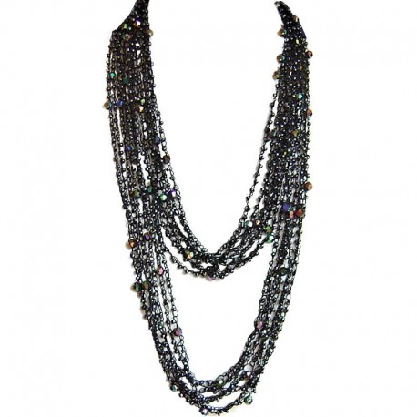 Trendy Costume Jewellery, Fashion Women Unique Accessories Small Gift, Black Bead Multi-strand Crochet Extra Long Necklace