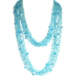 Blue Bead Multi-strand Crochet Extra Long Necklace