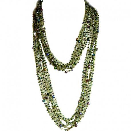 Trendy Costume Jewellery, Fashion Women Unique Accessories Small Gift, Green Bead Multi-strand Crochet Extra Long Necklace