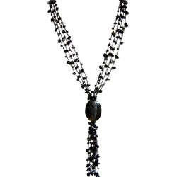 Black Onyx Teardrop Multi Strand Crochet Long Drop Tassel Long Necklace
