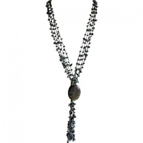 Natural Stone Costume Jewellery Women Gift, Snowflake Obsidian Teardrop Multi Strand Crochet Long Drop Tassel Long Necklace