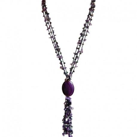 Natural Stone Costume Jewellery Accessories, Women Gifts, Amethyst Teardrop Multi Strand Crochet Long Drop Tassel Long Necklace