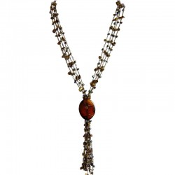 Natural Stone Women Costume Jewellery Gift, Brown Agate Teardrop Multi Strand Crochet Long Drop Tassel Long Necklace