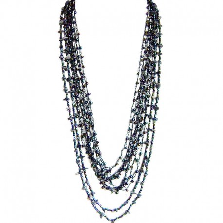 Natural Stone Costume Jewellery Accessories, Fashion Women Gift, Sodalite & Navy Bead Multi Strand Crochet Long Necklace