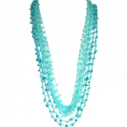 Blue Howlite & Blue Bead Multi Strand Crochet Long Necklace
