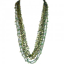Natural Stone Costume Jewellery Accessories, Fashion Women Gift, Aventurine & Green Bead Multi Strand Crochet Long Necklace