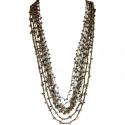 Tigers Eye & Brass Bead Multi Strand Crochet Long Necklace