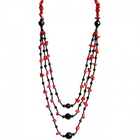 Natural Stone Costume Jewellery Accessories, Fashion Women Gift, Red Howlite Stone Black Bead Three Layer Long Necklace