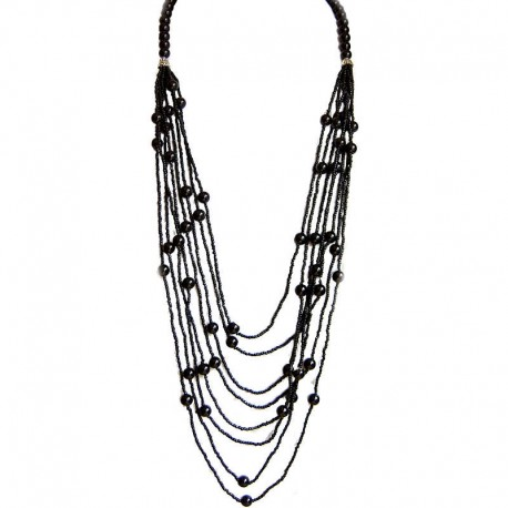 Classic Layered Costume Jewellery, Modern Accessories, Fashion Women Gift, Black Pearl Multi Layer Bead Long Necklace