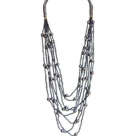 Classic Layered Costume Jewellery, Modern Accessories, Fashion Women Gift, Grey Pearl Multi Layered Bead Long Necklace