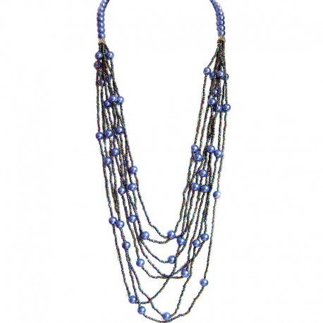 Classic Layered Costume Jewellery, Modern Accessories, Fashion Women Gift, Navy Pearl Multi Layered Bead Long Necklace