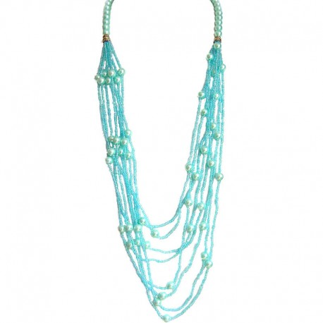 Classic Layered Costume Jewellery, Modern Accessories, Fashion Women Gift, Blue Pearl Multi Layered Bead Long Necklace