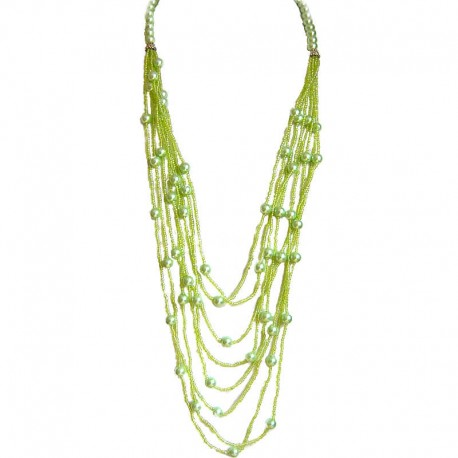 Classic Layered Costume Jewellery, Modern Accessories, Fashion Women Gift, Green Pearl Multi Layered Bead Long Necklace