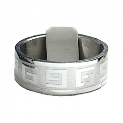 Greek Stainless Steel Matt Band Ring