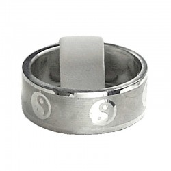 Cute Fun Simple Costume Jewellery, Women Men Unisex Rings, Tai Chi Symbol Stainless Steel Matt Band Ring