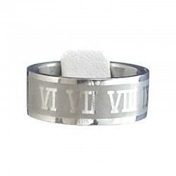 Roman Numerals Stainless Steel Matt Band Ring