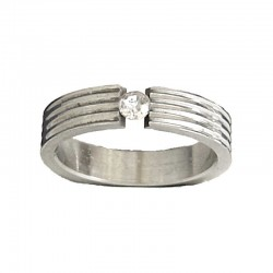 Simple Dress Costume Jewellery, Women Men Unisex Rings, Clear Diamante Stripe Line Stainless Steel Band Ring