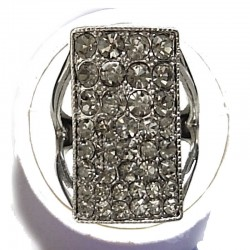 Cool Fashion Hip Hop Rings, Bling Costume Jewellery, Grey Diamante Rectangle Bold Statement Ring