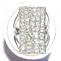 Cool Fashion Hip Hop Rings, Bling Costume Jewellery Gift, Clear Diamante Rectangle Statement Ring