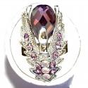 Purple Diamante Swan Bold Statement Cocktail Ring