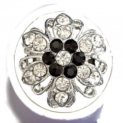 Feminine Statement Costume Jewellery Large Big Rings, Fashion Women Girls Gift, Black & Clear Diamante Bold Marigold Flower Ring