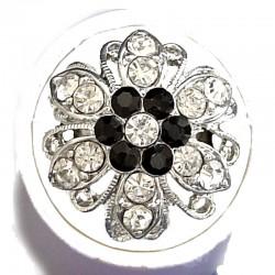 Feminine Statement Costume Jewellery Large Big Rings, Fashion Women Girls Gift, Black & Clear Diamante Bold Marigold Flower Ring