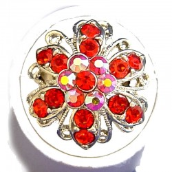 Red Diamante Bold Marigold Flower Ring