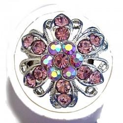 Feminine Statement Costume Jewellery Large Big Rings, Fashion Women Girls Gift, Lilac Diamante Bold Marigold Flower Ring