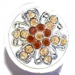 Feminine Statement Costume Jewellery Large Big Rings, Fashion Women Girls Gift, Brown Diamante Bold Marigold Flower Ring
