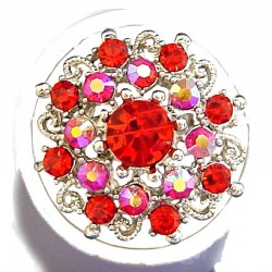 Bold Costume Jewellery Large Big Rings, Fashion Women Girls Gift, Red Diamante Blossom Statment Flower Ring