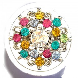 Bold Costume Jewellery Large Big Rings, Fashion Women Girls Gift, Multi Colour Diamante Blossom Statment Flower Ring