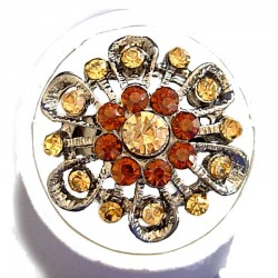 Feminine Statement Costume Jewellery Large Big Rings, Fashion Women Girls Gift, Brown Diamante Bold Flower Ring